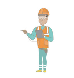 hispanic electrician with electrical equipment vector image vector image