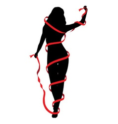silhouette of a girl vector image