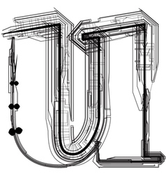 Technical typography Letter u vector image vector image