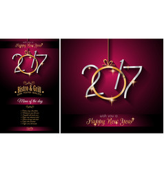 2017 happy new year restaurant menu template vector