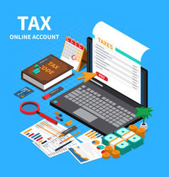 Accounting tax isometric composition vector