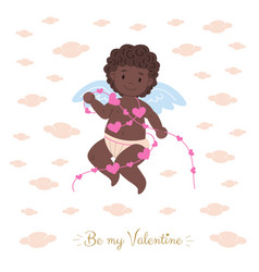 african black cupid holding garland vector image