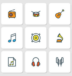 Audio colored outlines set collection of set vector