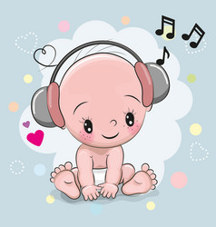 Baby with headphones vector