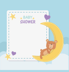 bashower square card with little bear teddy and vector image
