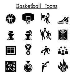 basketball icon set graphic design vector image