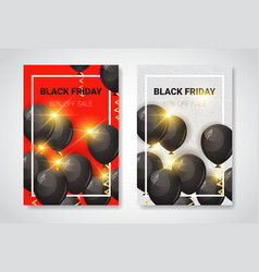 black friday sale posters set with air balloons vector image