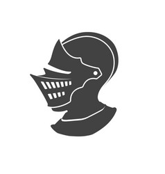 Black silhouette isolated knight helmet vector