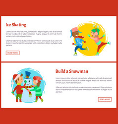build snowman and ice skating postcards children vector image