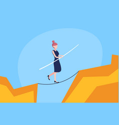 Businesswoman walk over cliff gap abyss mountain vector