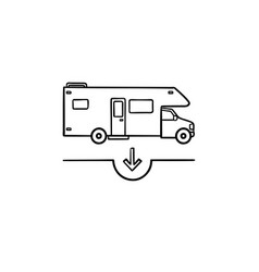 camper hand drawn outline doodle icon vector image