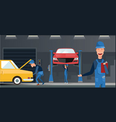 car repair maintenance autoservice center garage vector image