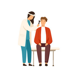 Cartoon female otolaryngologist checking ears of vector