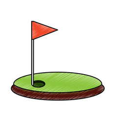 cartoon golf flag with hole grass field vector image