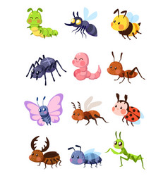 Cartoon insects cute grasshopper and ladybug vector