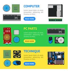 cartoon pc components banner horizontal set vector image