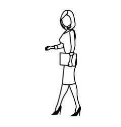 character woman business holding folder work line vector image