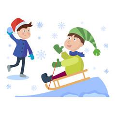 christmas sledding kids playing winter games vector image