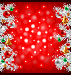 Christmas tree branches on red background vector image