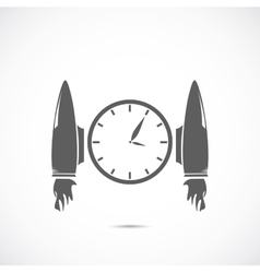 Clock with jet engines vector