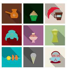 Coffee color drawn collection sketch set with vector
