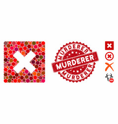 Collage close icon with textured murderer stamp vector