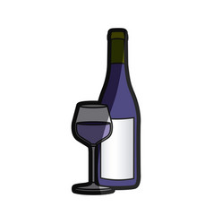 Color silhouette with bottle of wine and glass vector