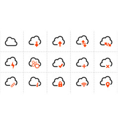 computer cloud related line icons icon set vector image