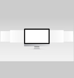 Computer monitor with blank web wireframing pages vector