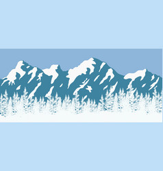 coniferous trees and mountains vector image