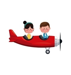Couple flying red plane romantic valentine vector