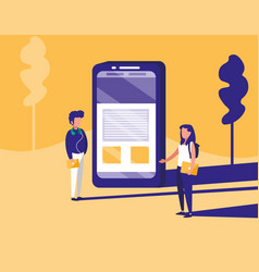 couple with smartphone in landscape vector image