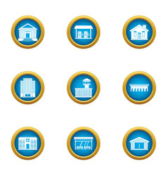 Cultural building icons set flat style vector