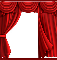 curtain with drape stage theatre fabric red vector image