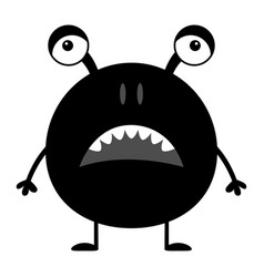 Cute black silhouette monster icon happy vector