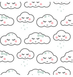 Cute cloud sleepy face white seamless baby vector