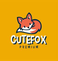 cute fox little baby cartoon retro logo icon vector image