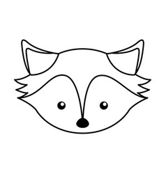 Cute line icon fox face cartoon vector