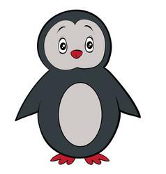 cute penguin toy cartoon postcard isolated vector image