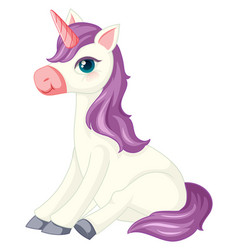 Cute purple unicorn in sitting position on white vector