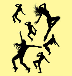 dance silhouette set vector image