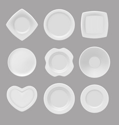 Dishware realistic pictures of various vector