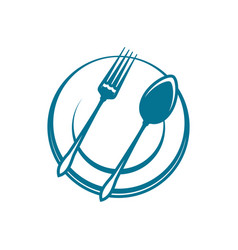 Dishware spoon and fork on plate vector