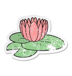 Distressed sticker of a cartoon water lily vector