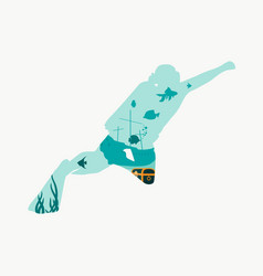 Diving sport concept vector