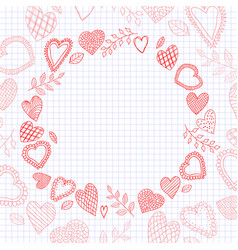 doodle hearts frame on the checkered notebook vector image