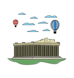 Doodle medieval athens architecture and air vector