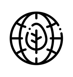 Earth planet leaves tree thin line icon vector