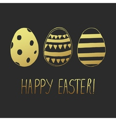 Easter greeting eggs gold dark vector
