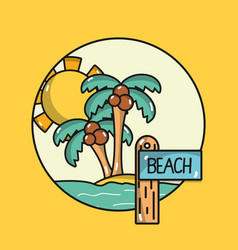 Emblem palms with surfboard in island on vector